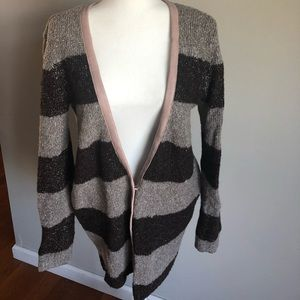 Hinge striped metallic alpaca cardigan sweater